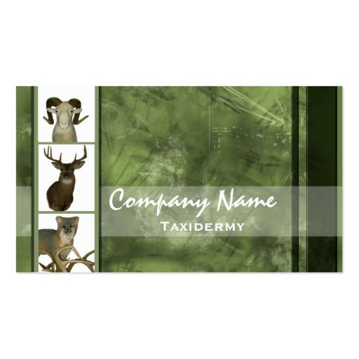 Multiple Animal Taxidermy Business Cards ~ Green