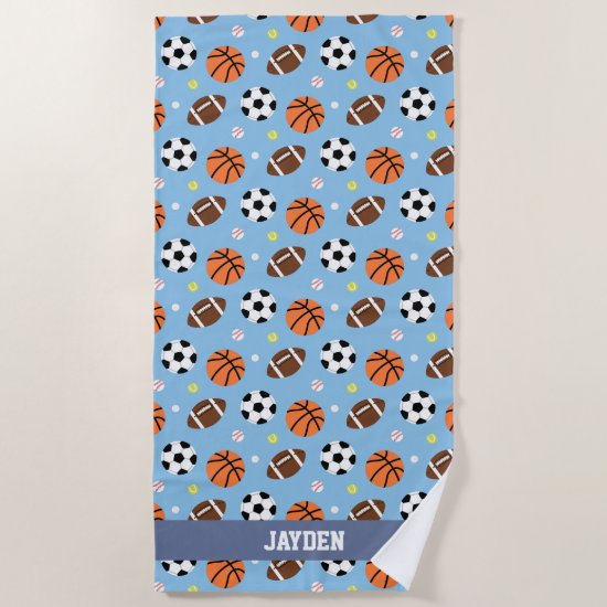 Multiple Balls Sports Pattern Boys Beach Towel