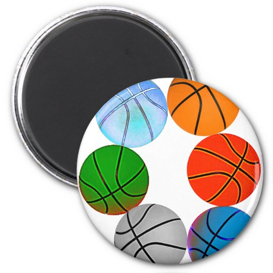 Multiple Basketballs 2 Inch Round Magnet