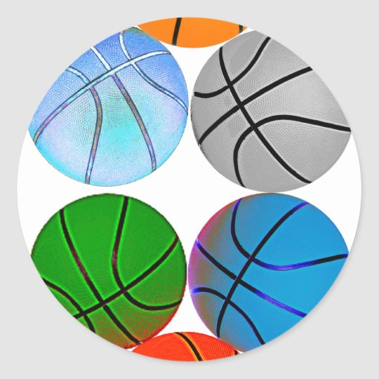 Multiple Basketballs Classic Round Sticker