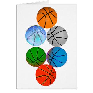 Multiple Basketballs Greeting Cards