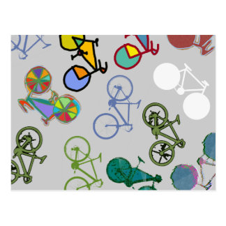 multiple bicycles post card