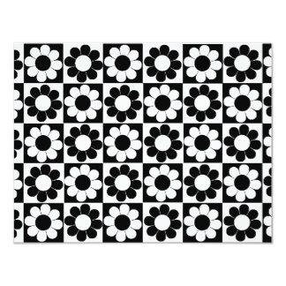 Multiple Black & White Flower Power Personalized Invites