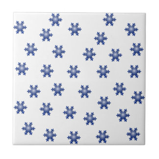 Multiple Blue Snowflake Starburst Greeting Ceramic Tile