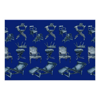Multiple chairs in dark blue print