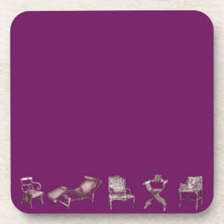 Multiple chairs in purple beverage coaster