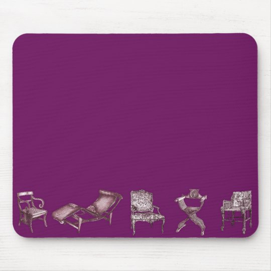 Multiple chairs in purple mouse pad