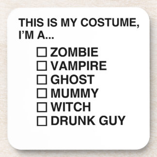 MULTIPLE CHOICE HALLOWEEN COSTUME GUY DRINK COASTER