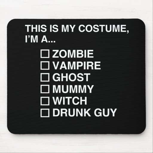 MULTIPLE CHOICE HALLOWEEN COSTUME GUY MOUSE PAD