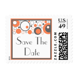 Multiple Circles Save The Date Postage (Orange)