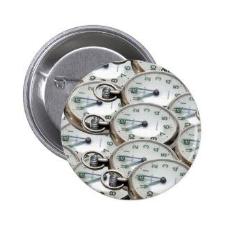Multiple Clock Faces Pinback Button