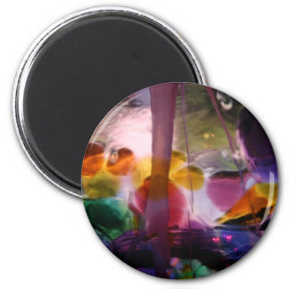 Multiple Colored Glass Maze 2 Inch Round Magnet