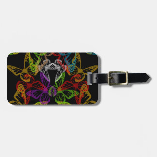 Multiple colorful butterflies bag tag