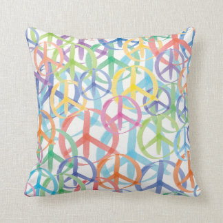 Multiple Colors of Peace Symbols Throw Pillow