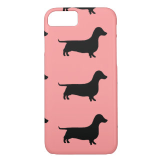 Multiple Dachshund Pattern on Rose background iPhone 8/7 Case