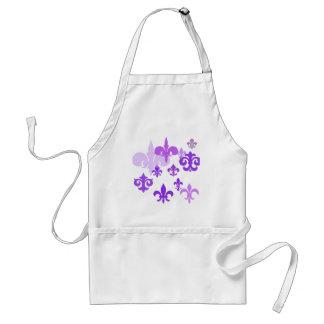 Multiple Fleur de Lis in Purple Shades Adult Apron