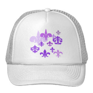 Multiple Fleur de Lis in Purple Shades Trucker Hat