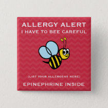 Multiple Food Allergy Alert Bumble Bee Button