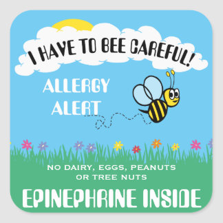 Multiple Food Allergy Alert Bumble Bee Stickers