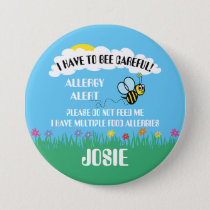 Multiple Food Allergy Alert Do Not Feed Bee Button