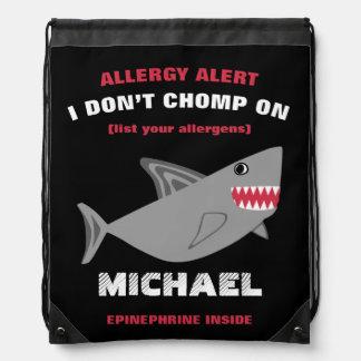 Multiple Food Allergy Alert Shark Drawstring Bag