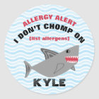 Multiple Food Allergy Alert Shark Stickers