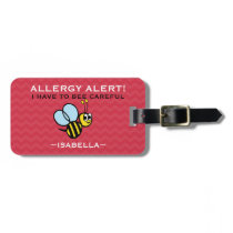 Multiple Food Allergy Bumble Bee Medical Alert Luggage Tag