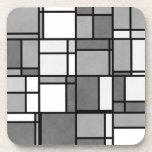 Multiple Gray White Mondrian Inspired Pattern Beverage Coaster