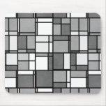 Multiple Gray White Mondrian Inspired Pattern Mousepads