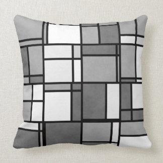 Multiple Gray White Mondrian Inspired Pattern Throw Pillow