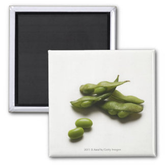 multiple green edamame beans with pea pod broken magnet