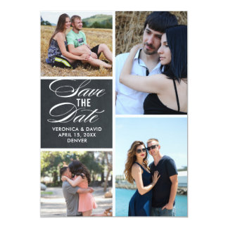 Multiple images portrait wedding save the date card