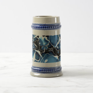 Multiple irregular shaped blue, and black bubbles beer stein