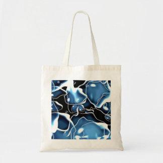 Multiple irregular shaped blue, and black bubbles budget tote bag