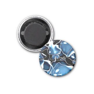 Multiple irregular shaped blue, and black bubbles magnet