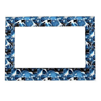 Multiple irregular shaped blue, and black bubbles magnetic photo frame