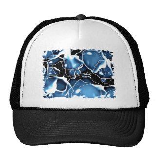 Multiple irregular shaped blue, and black bubbles trucker hat