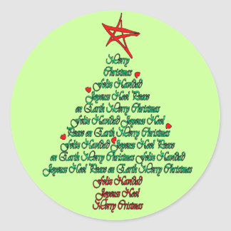 Multiple language christmas tree with star sticker