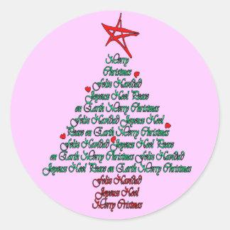 Multiple language christmas tree with star round sticker