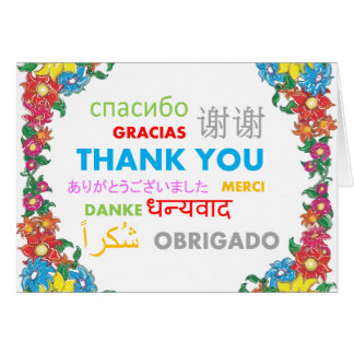 Multiple Language Colorful Floral Border Thank You Card