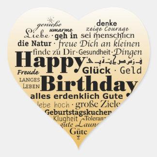 Multiple Language Happy Birthday Heart Sticker
