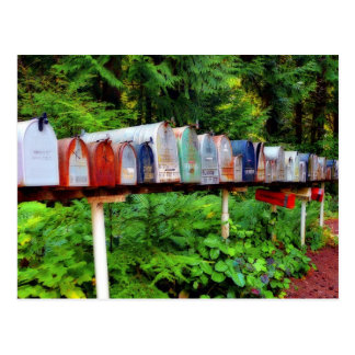 Multiple Mailboxes in a row Postcard
