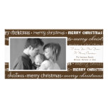 Multiple Merry Christmas Photocards (Brown) Customized Photo Card