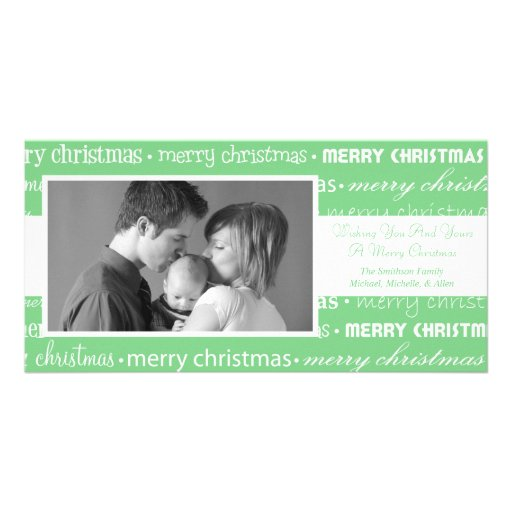 Multiple Merry Christmas Photocards (Mint Green) Photo Card Template