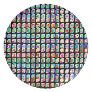 Multiple Miniature Abstract Art Patterns on Gifts Plate