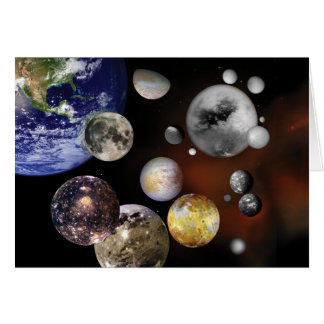 Multiple Moons Space Art NASA Greeting Card