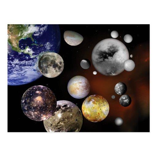 Multiple Moons Space Art NASA Postcard