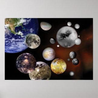 Multiple Moons Space Art NASA Print