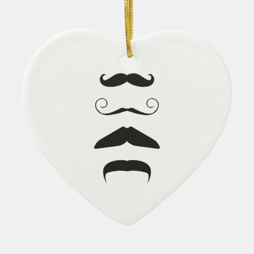 Multiple Moustache Double-Sided Heart Ceramic Christmas Ornament