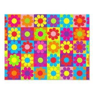 Multiple Multicolor Flower Power Custom Invitations